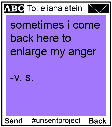 To: eliana stein - sometimes i come back here to enlarge my anger  -v. s.